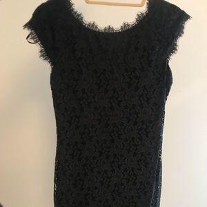Diane von Furstenburg black lace dress